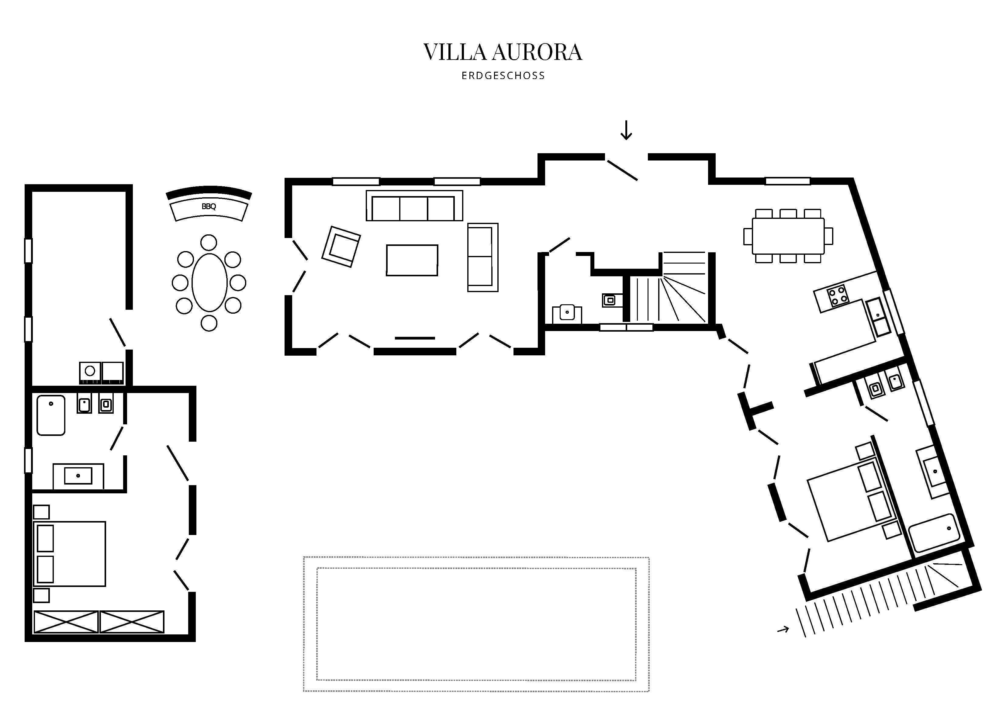 Grafik Grundriss Erdgeschoss Villa Aurora