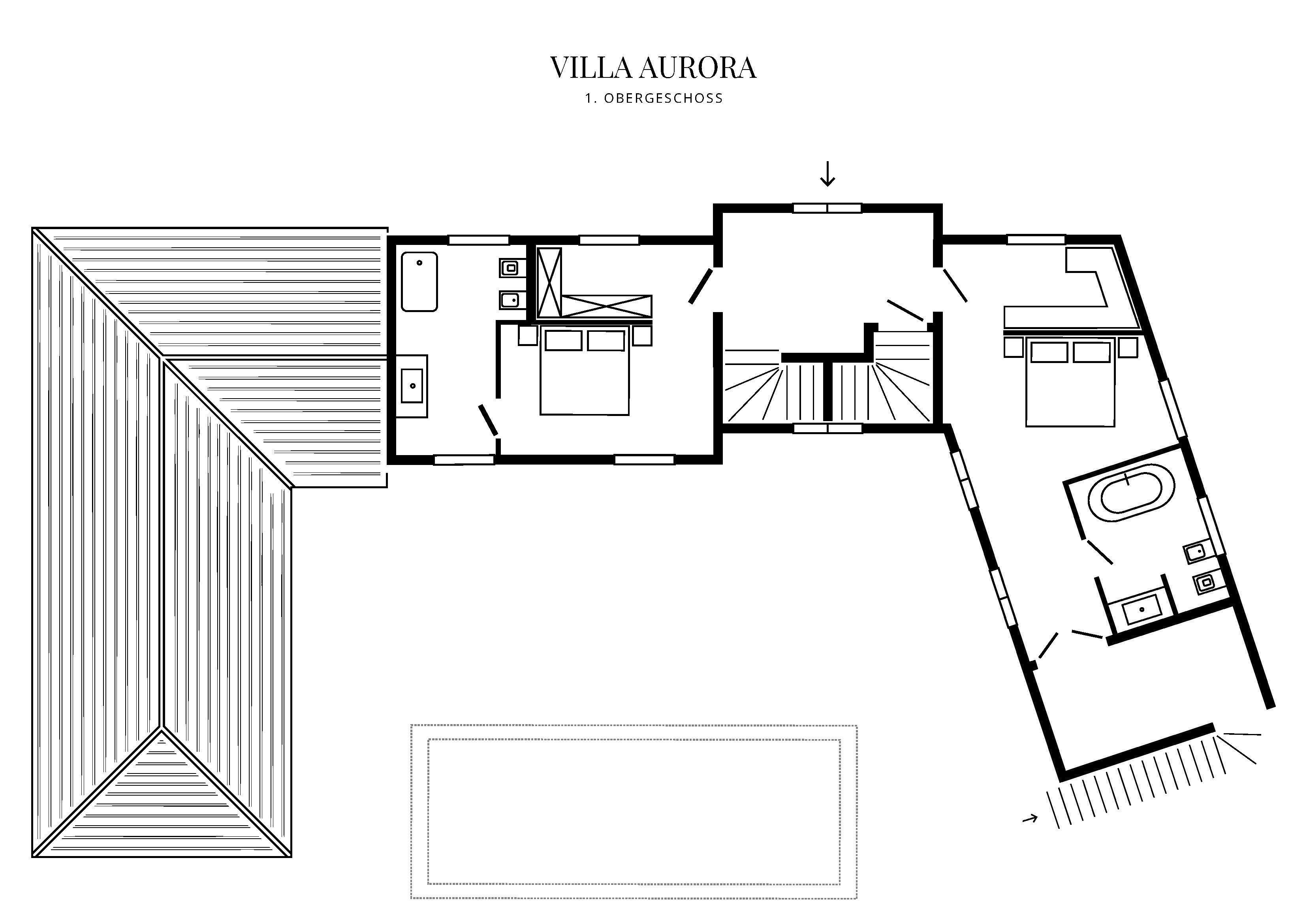 Grafik Grundriss Obergeschoss Villa Aurora