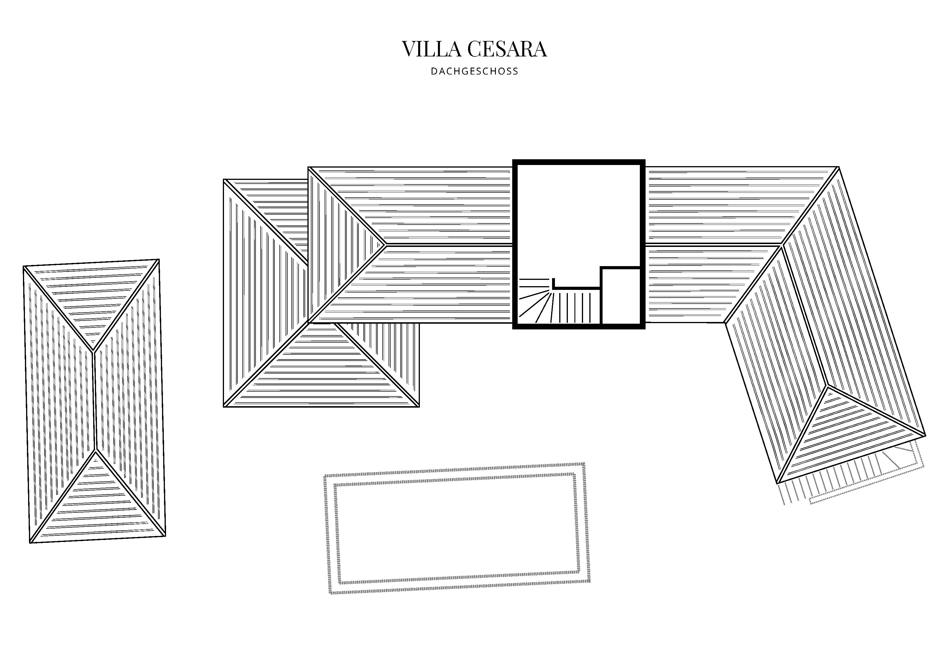 Grafik Grundriss Dachgeschoss Villa Cesara