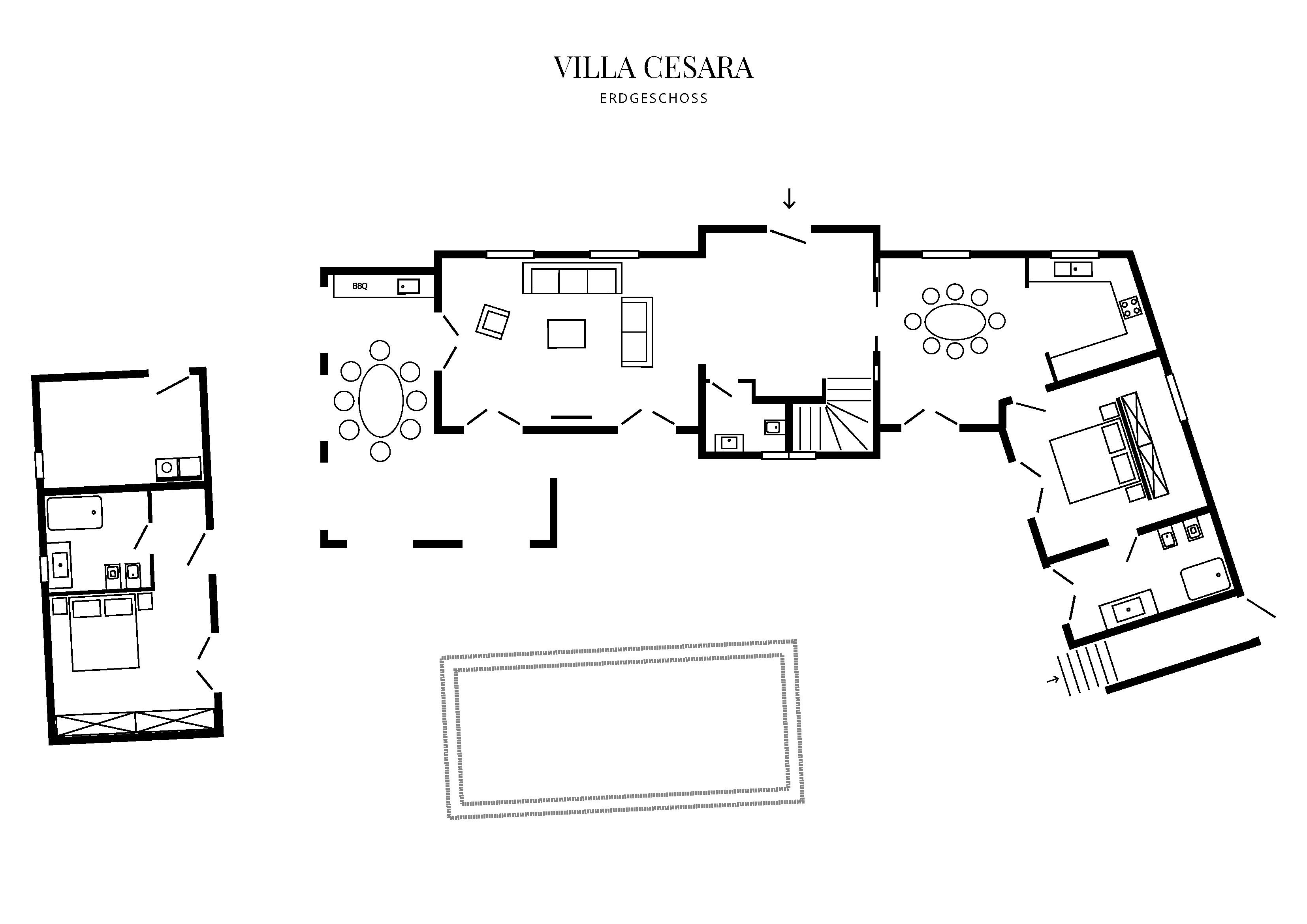 Grafik Grundriss Erdgeschoss Villa Cesara