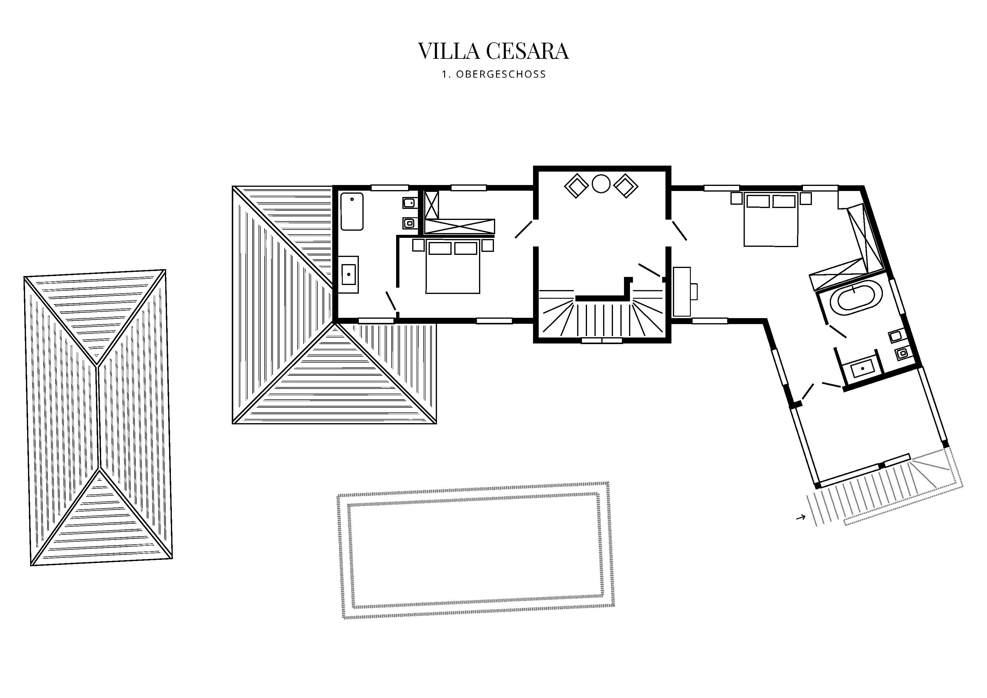 Grafik Grundriss Obergeschoss Villa Cesara
