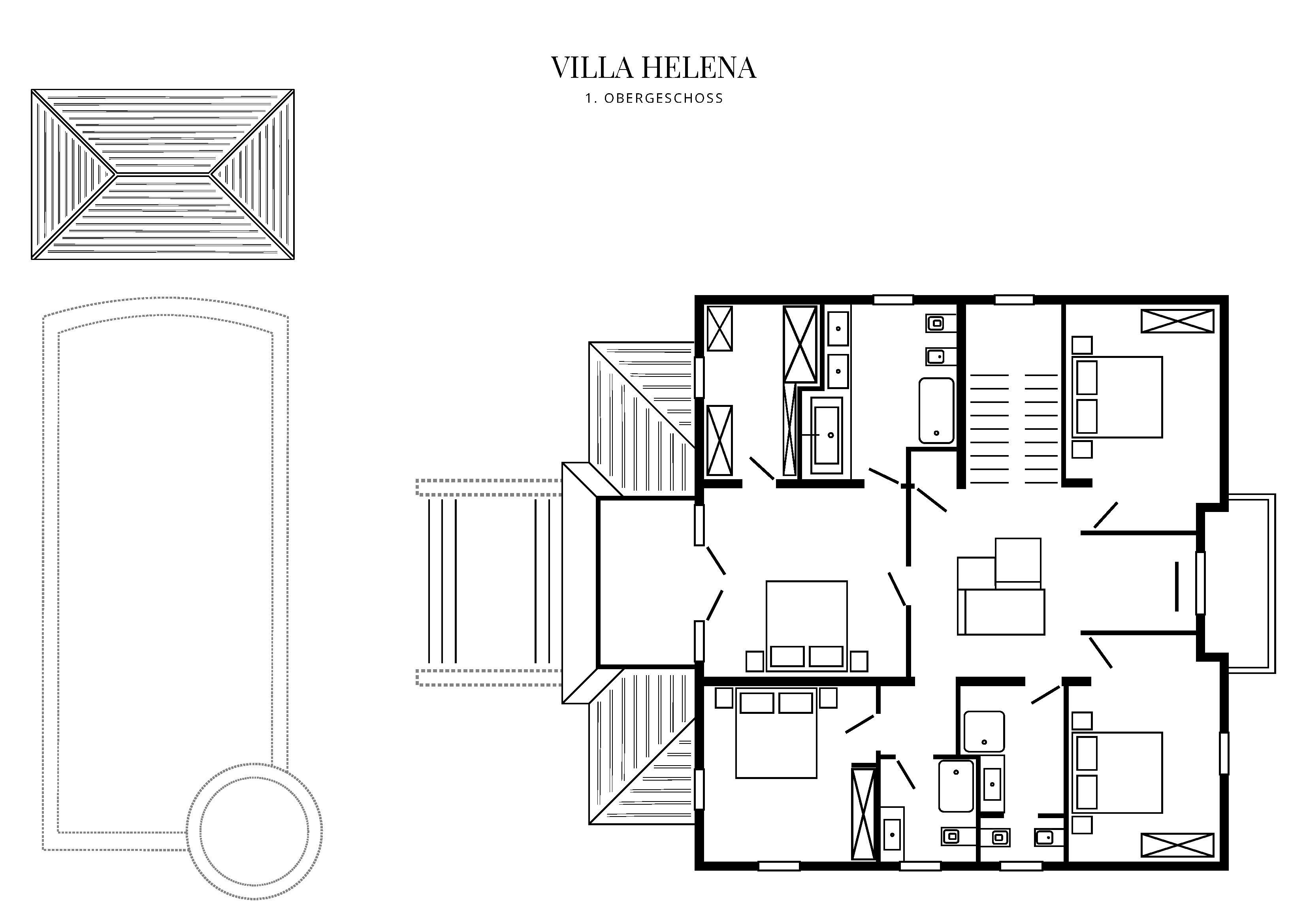 Grafik Grundriss Obergeschoss Villa Helena