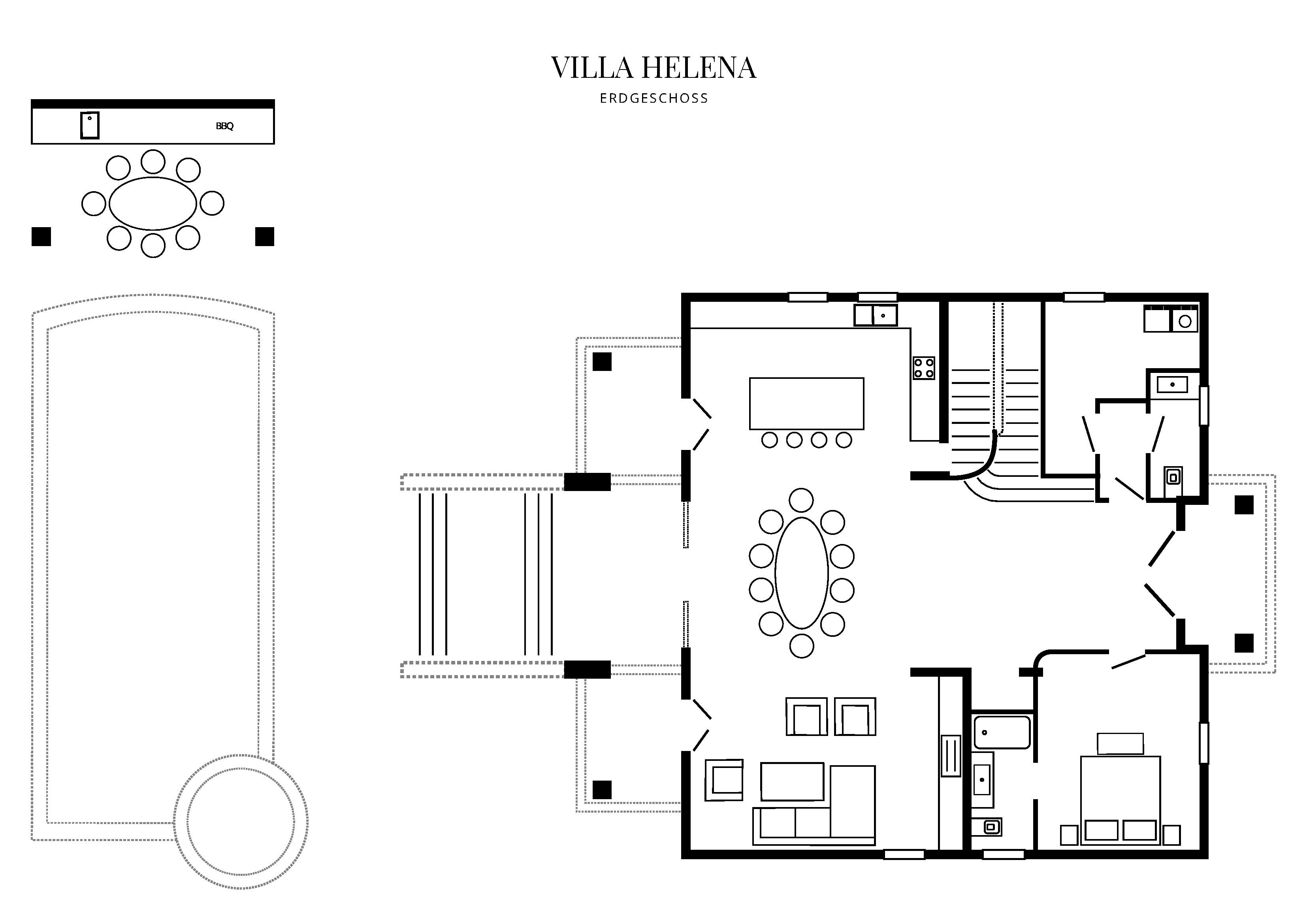 Grafik Grundriss Erdgeschoss Villa Helena