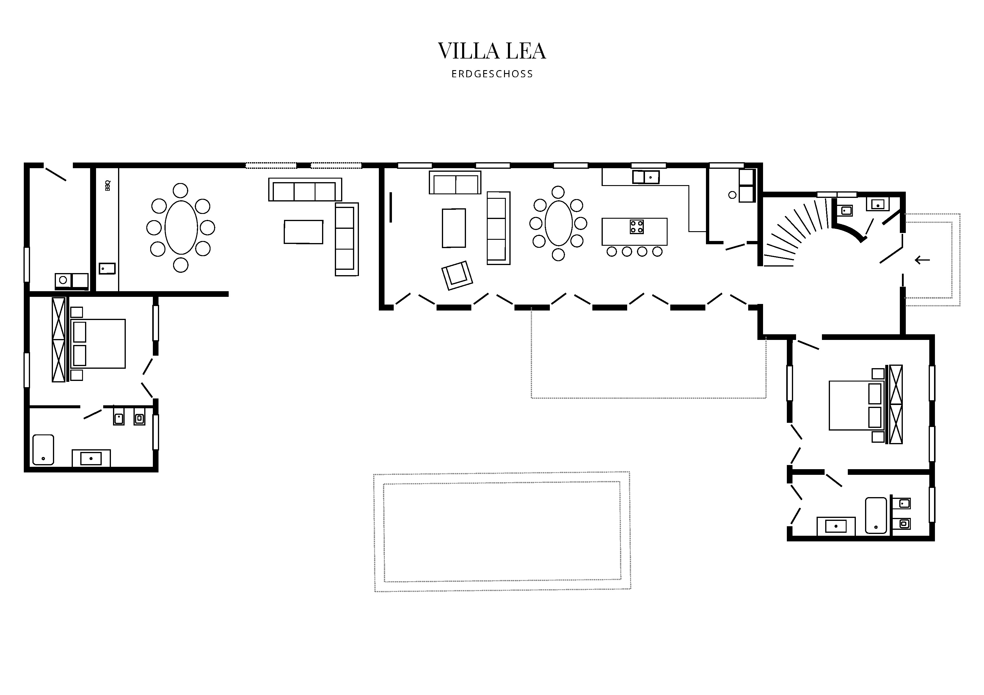Grafik Grundriss Erdgeschoss Villa Lea
