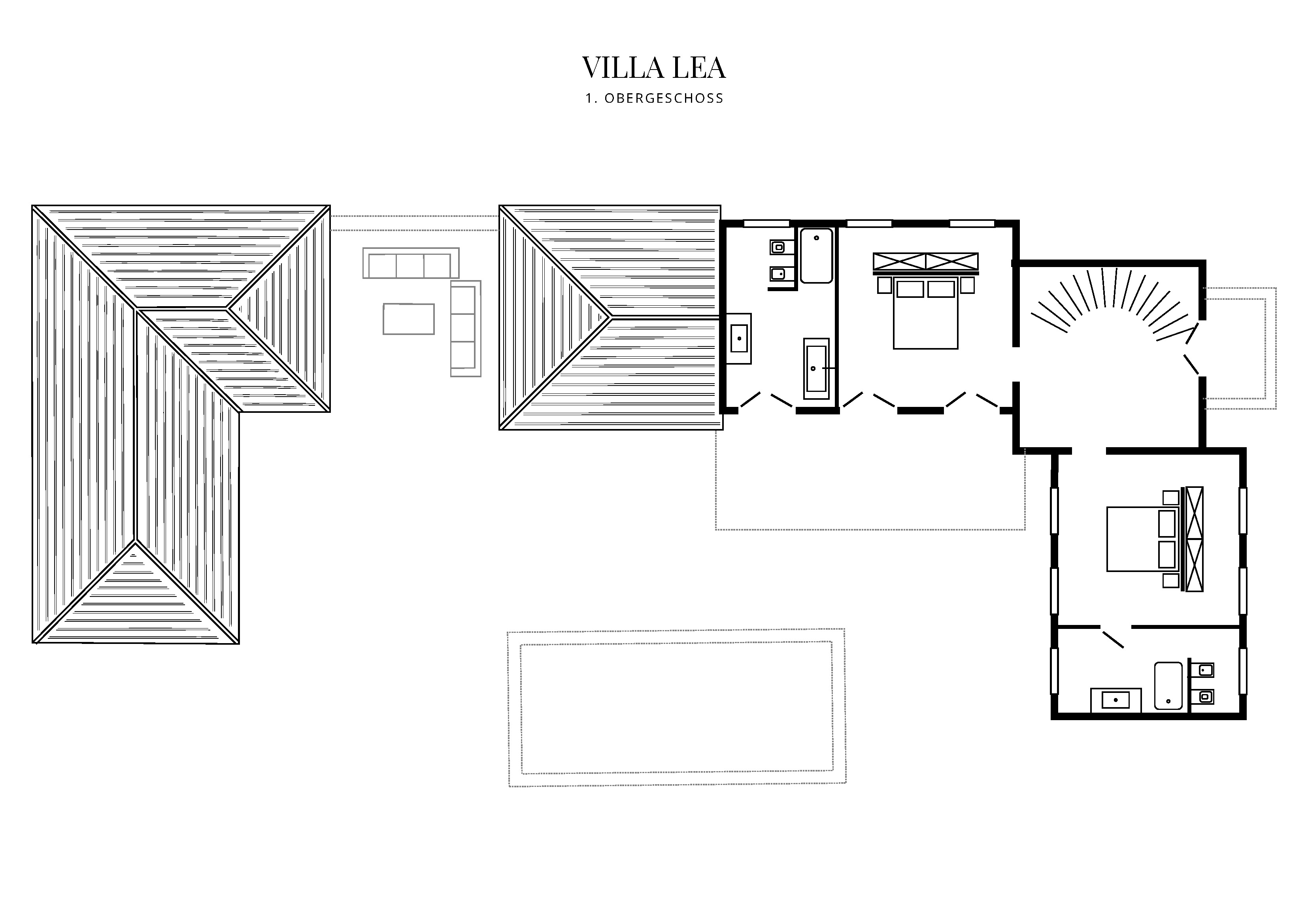 Grafik Grundriss Obergeschoss Villa Lea