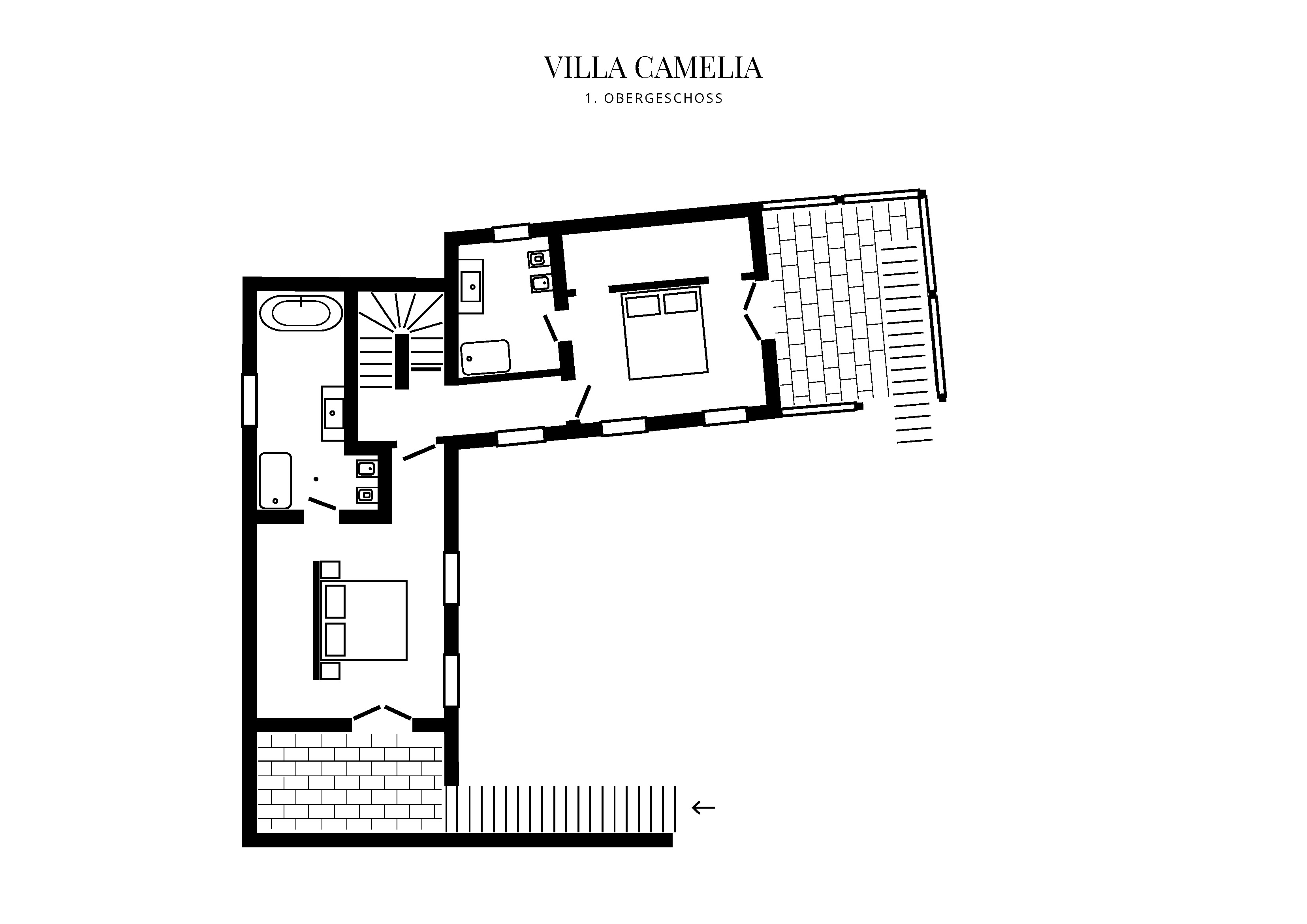 Grafik GrundrissObergeschoss Villa Camelia
