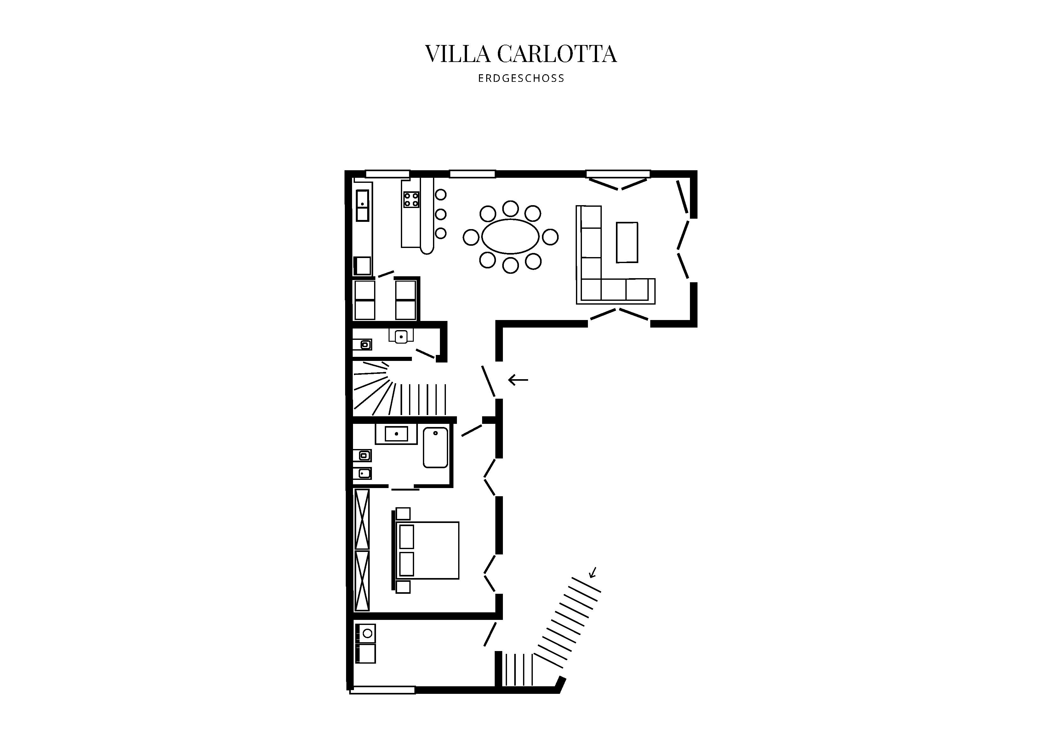 Grafik Grundriss Erdgeschoss Villa Carlotta