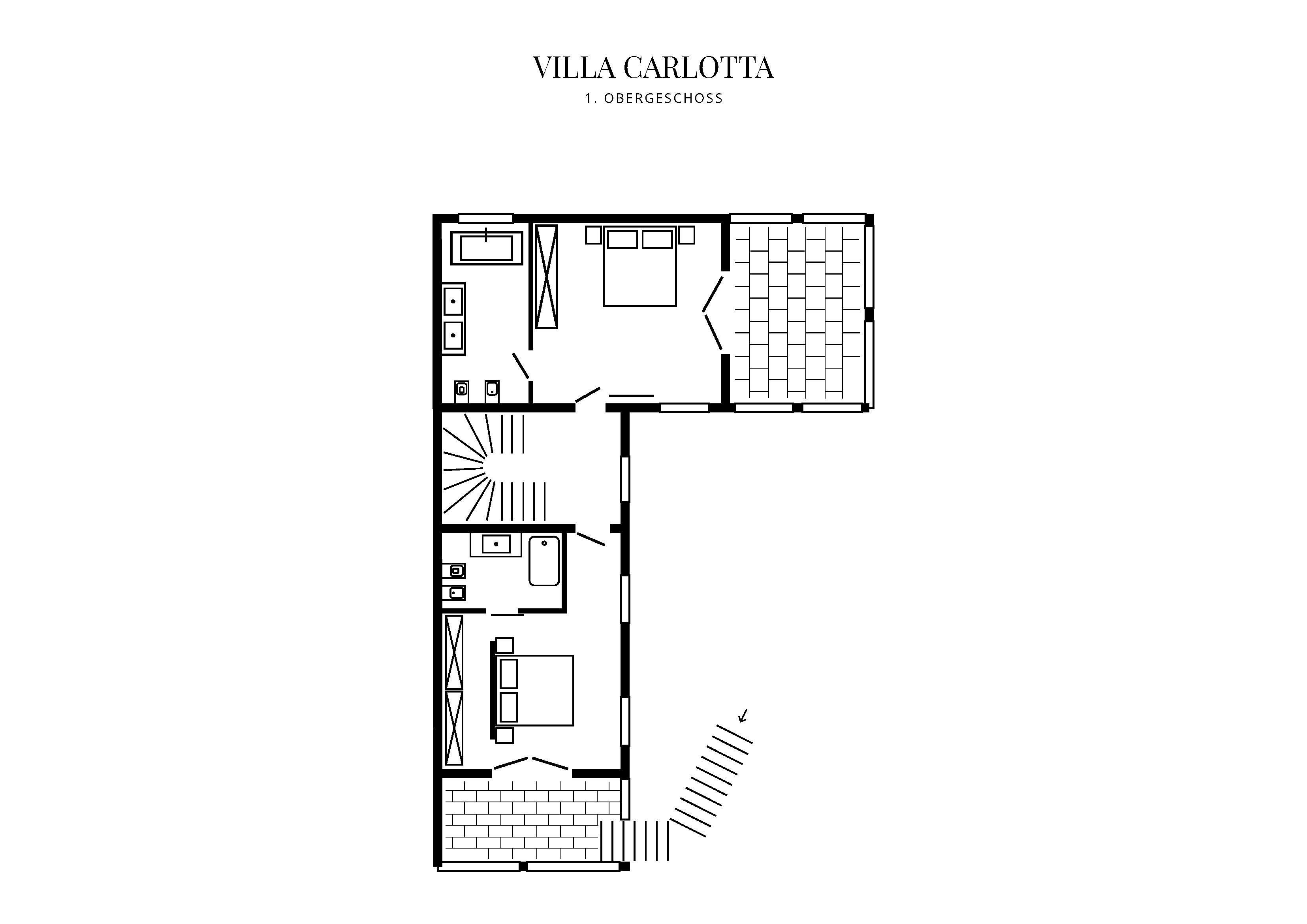 Grafik Grundriss Obergeschoss Villa Carlotta