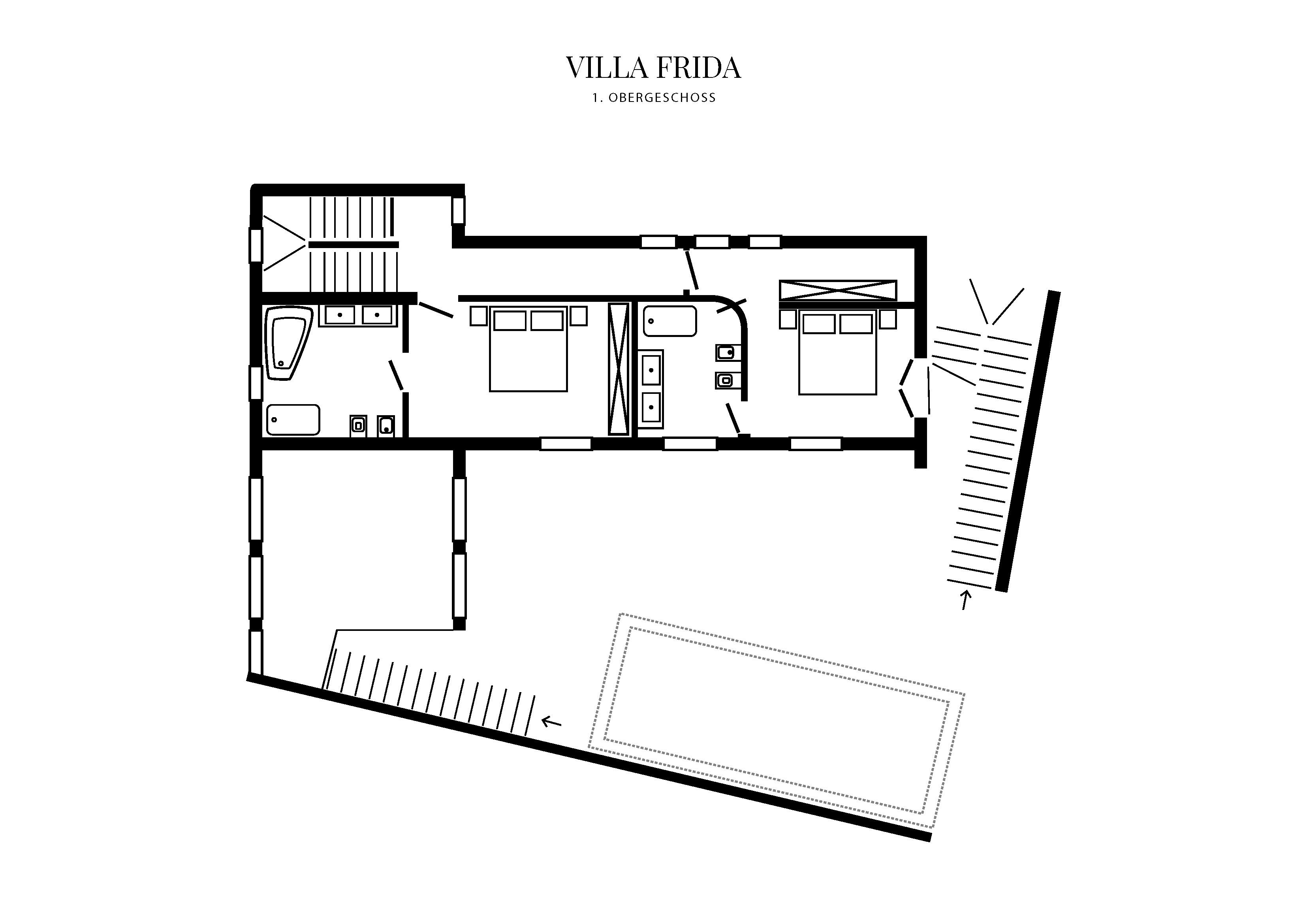 Grafik Grundriss Obergeschoss Villa Frida