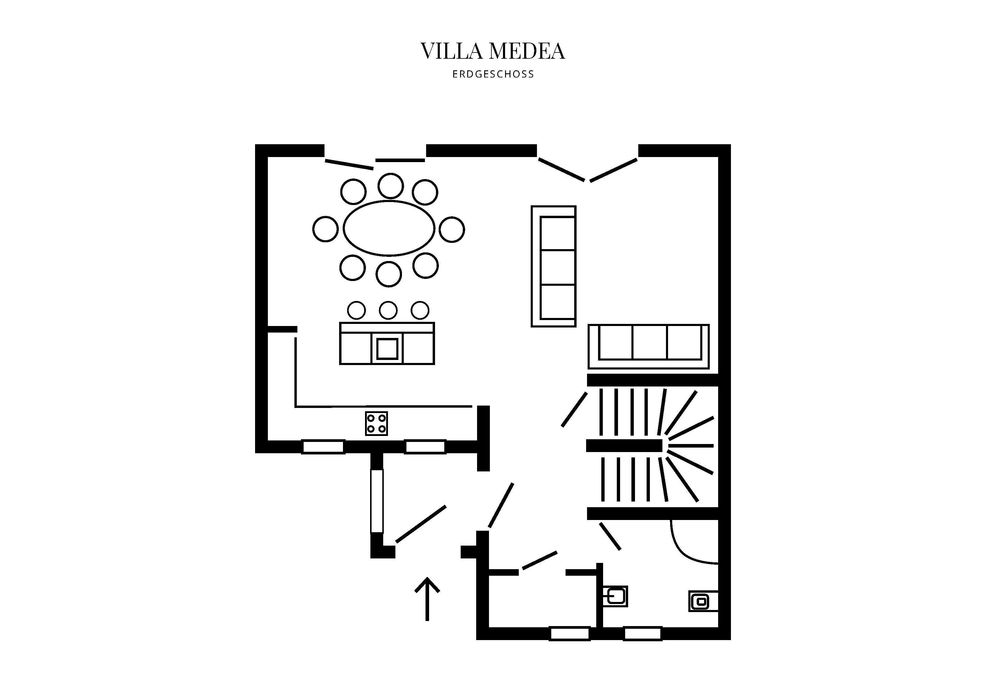 Grafik Grundriss Erdgeschoss Villa Medea