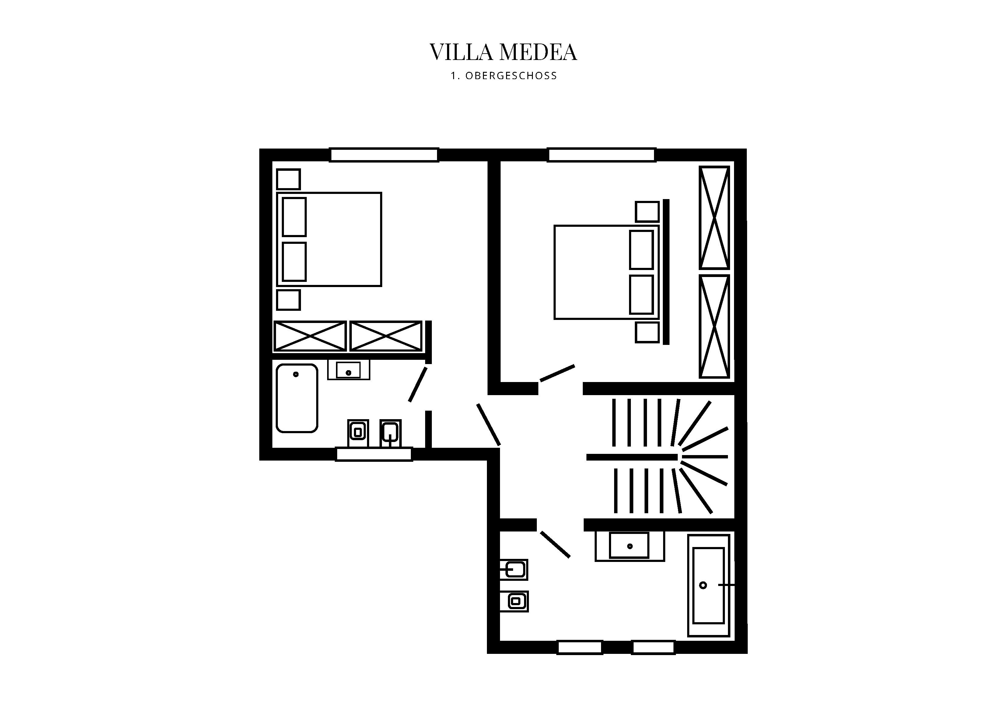 Grafik Grundriss Obergeschoss Villa Medea