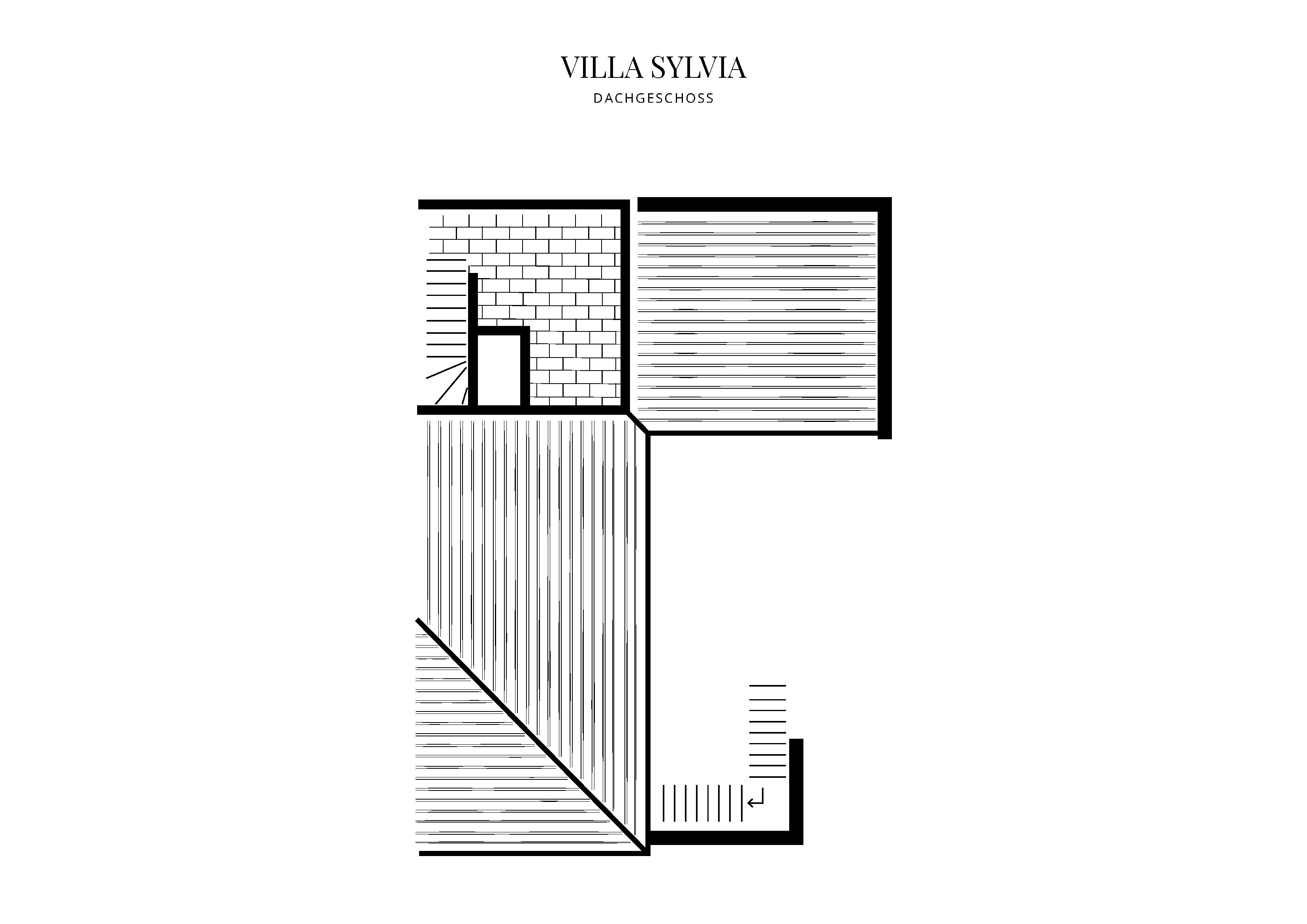Grafik Grundriss Dachgeschoss Villa Sylvia
