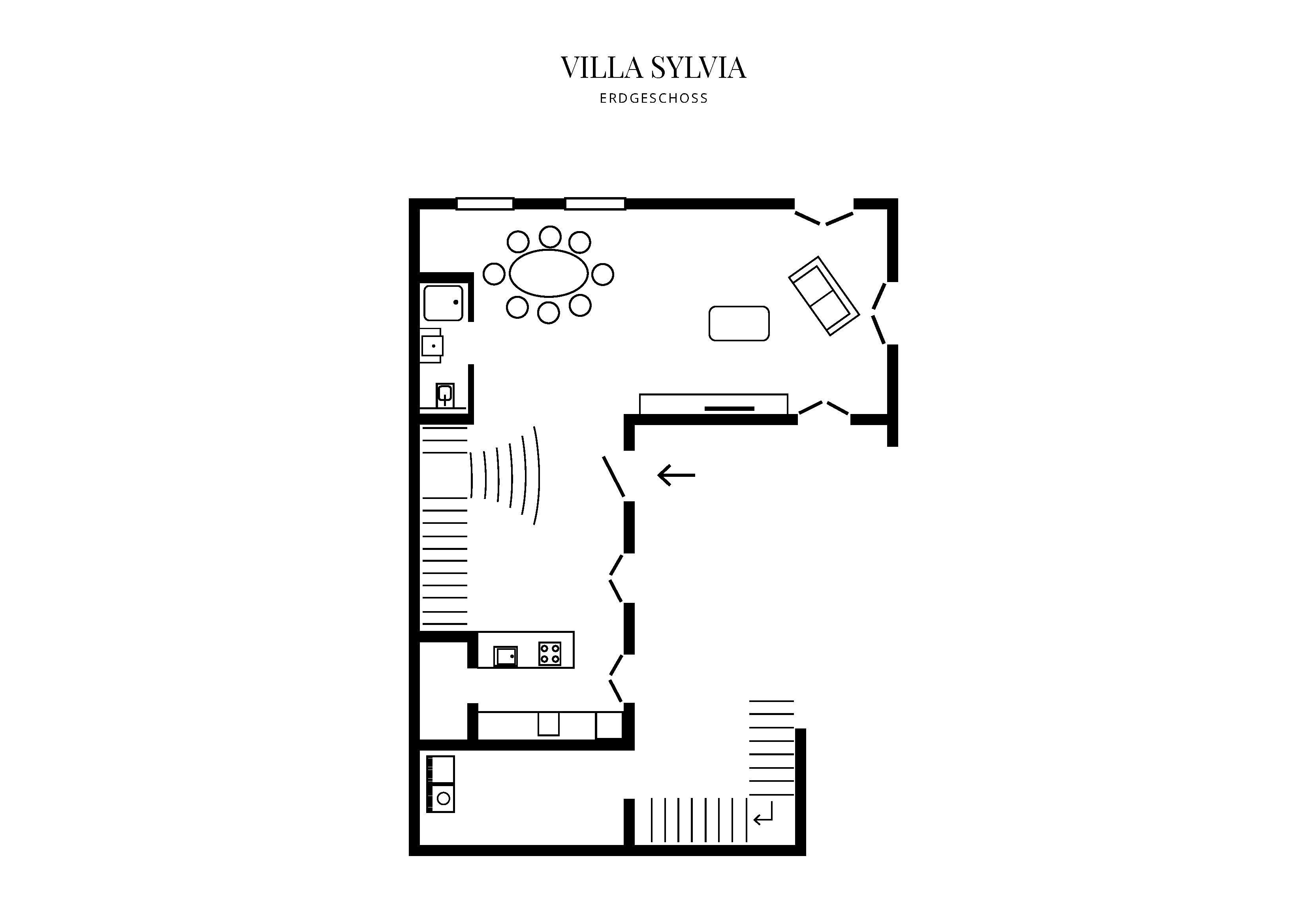 Grafik Grundriss Erdgeschoss Villa Sylvia