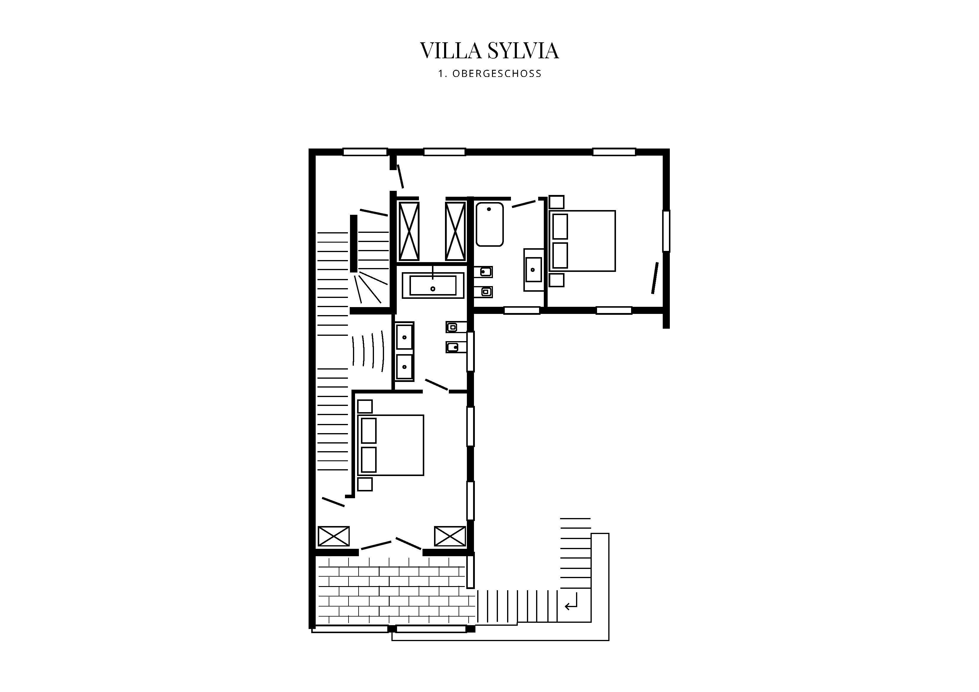 Grafik Grundriss Obergeschoss Villa Sylvia